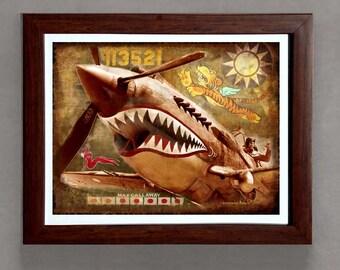 "Fine Art Print: -  ""Vintage WWII P-40 Flying Tiger"" - 8""x10"" Giclee print - Historic Aircraft print, Aviation art"