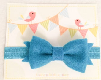 Ready To Ship - Teal Bow Headband
