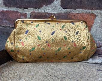 vintage brocade clutch // gold metallic thread // embroidered // 1950s