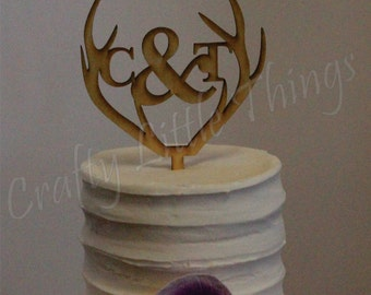 FREE SHIPPING! Antler personalized wooden monogram Rustic wedding cake topper