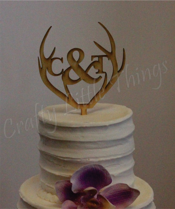 rustic wood wedding cake toppers free shipping antler personalized wooden monogram rustic 19600