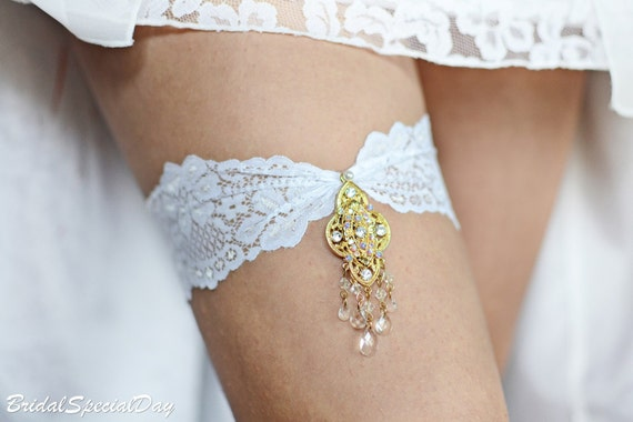 Gold Wedding Garter, Rhinestone Garter, Lace Garter Set, White Bridal Garter, Unique Garter, Bridal Garter, Handmade Garter, Gold Garter Set