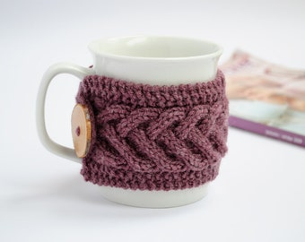 Cup Cozy in Purple, Knitted Mug Cozy, Coffee Cozy, Tea Cup Cozy, Handmade Wooden Button, Coffee Cozy Sleeve, Warmer, Christmas, Winter, Gift