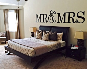 """Wedding Signs, Wedding Decor, Mr and Mrs Letters, Mr and Mrs Sign, Reception Decor, Block Letters, 20"""" with large Ampersand--28"""", UNFINISHED"""