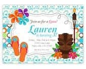 Luau Invitation - Turquoise Blue Damask, Hawaiian Flower and Grass Skirt Luau Personalized Birthday Party Invite - a Digital Printable File