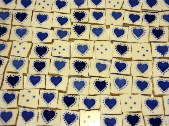 Broken China Mosaic Tiles Sale Blue By Inspiredtesserae On
