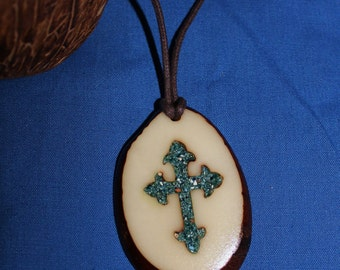 Inlaid Cross Tagua Nut Necklace
