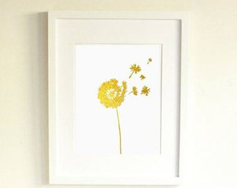 Art Print 24K Gold Dandelion Flower Original Fine Wall Art by Jennifer Latimer