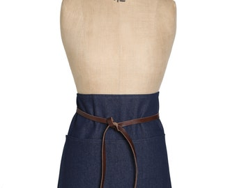 Gorgeous Selvedge Denim Half Apron with Leather Waist Straps