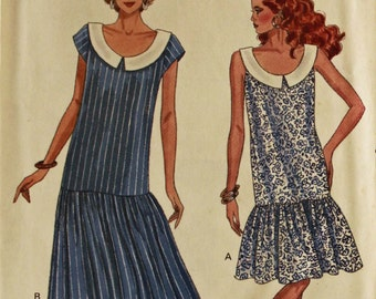 Dress, Dropped Waist -1980's -  Butterick Pattern 6420  Uncut   Sizes 6-8-10  Bust 30.5-31.5-32.5""