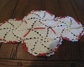 Vintage Crocheted Coral and White Doily