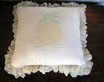 Silk And Lace Embroidered Pineapple Throw Pillow
