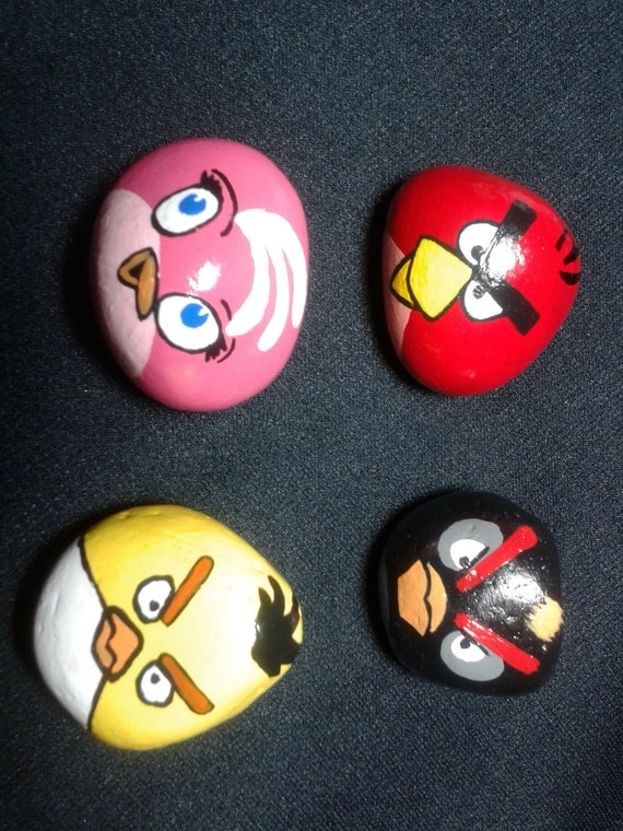 Painted Rocks Hand Painted Angry Bird Stone Magnets Kitchen