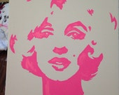 Marilyn Monroe painting from hand made stencil