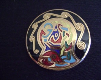 Unique Enamel Gold tone Pendant or Brooch
