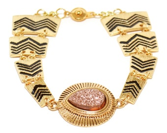 Tribal Bracelet, Gold Jewelry, Gold Bracelet, Tribal Print, Mineral Bracelet, Bracelets for Women
