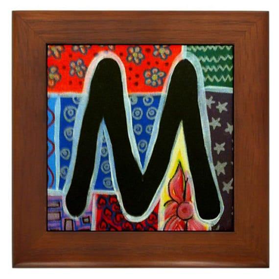 Folk Art Letter M FRAMED TILE By Artist