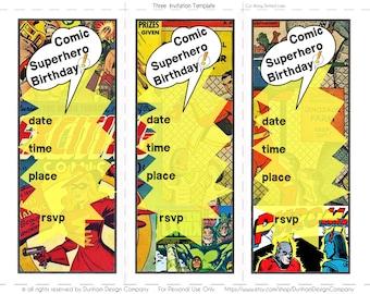 Comic Superhero Invitation {INSTANT DOWNLOAD}