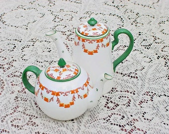 Teapot and Coffeepot Set 1940s - Green and Orange