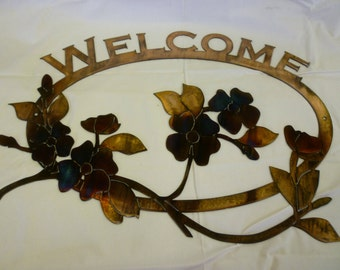 Custom Metal Welcome Sign with Dogwood Branches