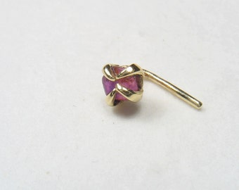 Nose stud-nose ring-9k solid gold nose ring-Rough raw rubby nose ring.