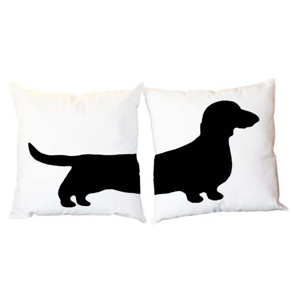 SALE *** 2 Black Dachshund Pillow Cases 18x18 ***