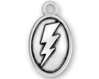 Sterling Lightning Bolt Charm, Thunderbolt Charm, Mascot Jewelry, School Mascot Charms