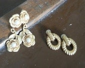 Two Pairs Vintage Costume Clip-ons