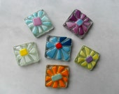 Decorative glass tiles - fused glass flower tiles - mosaic tiles - mosaic floral art - craft tiles