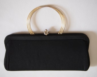 Vintage Black Purse with Gold Wire Handle