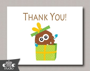 Monsters Thank You Cards, Birthday Party Printable - Instant Download