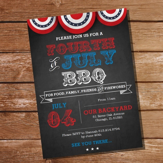 4th Of July BBQ Invitation July 4th Cookout Independence