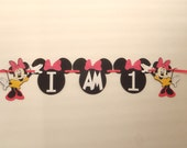 High Chair Banner I AM 1 Minnie Mouse Ears Pink or Red Bow by FeistyFarmersWife