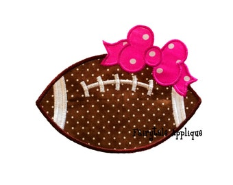 Digital Machine Embroidery Design -  Football with Bow Applique