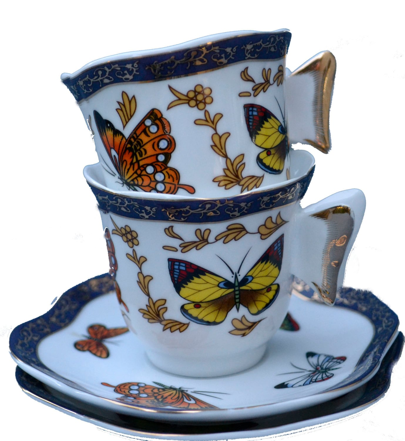 2 butterfly demitasse cups and saucers butterfly handle cup. Black Bedroom Furniture Sets. Home Design Ideas