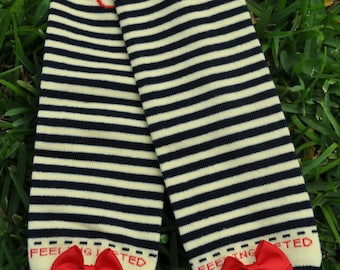 Yellow and Navy Stripe Leg Warmers- customize available