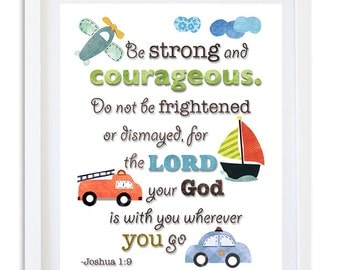 Bible Nursery art, Nursery decor, Religious nursery quote print, Boys room Transportation - Joshua