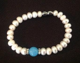 Genuine Pearl & Aquamarine Stone Bracelet
