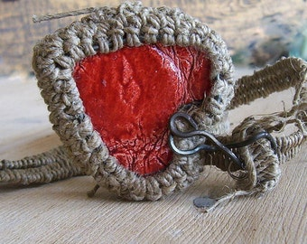 Heart Necklace Double sided, Crochet Necklace, Pendant Linen Drawstring Leather OOAK