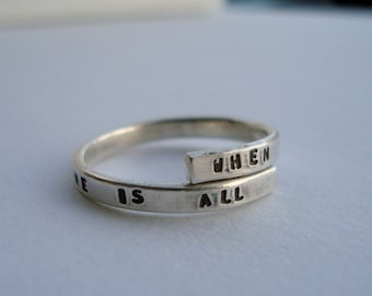 Led Zeppelin Lyric Ring, 'When all are one and one is all' Sterling Silver, 925, Stairway to Heaven, handmade. -Adjustable