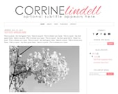 Premade Blogger Template Theme Blog Design - Corrine Lindell - INSTANT DOWNLOAD - Simple, Modern, Black, White, Grey, Pink, Pretty