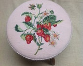 """Strawberry Footstool Needlepoint and Petit Point Vintage 1970""""s"""