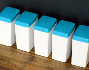 Retro kitchen canisters, set of five