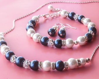 Choose Your Color Bridesmaids gift - Pearl Jewelry set with Necklace, Bracelet and Earrings