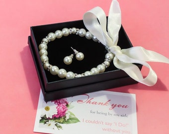 Flower Girl, Bridesmaids gift - Pearl Jewelry sets