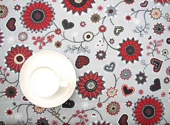 weihnachten tischdecke beige grau rot weihnachten blume und. Black Bedroom Furniture Sets. Home Design Ideas