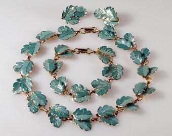Vintage Marino Enamel Oak Leaf Parure Necklace Bracelet Clip On Earrings Super Rare