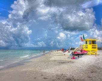 Beach Photography, Siesta Key Beach, Florida, Yellow Lifeguard House, Photo Art Print, Blue Sky Turquoise Water.