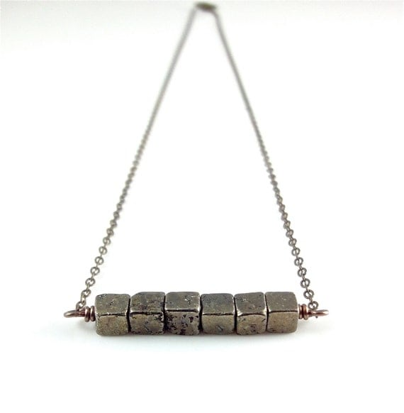 Pyrite Necklace Pyrite Cube Beads Geometric Gemstone Bar