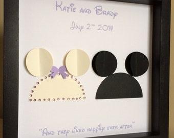 Disney Inspired Wedding - 3d Paper Art -Disney wedding shower, Mickey Ears, Disneyland, Disney wedding gift by PaperLine